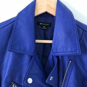 8b1d395e3a jcpenney Jackets   Coats - Royal Blue Faux Leather Fringe Jacket
